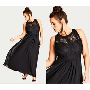City Chic Maxi Gown with Lace Top & Peekaboo back